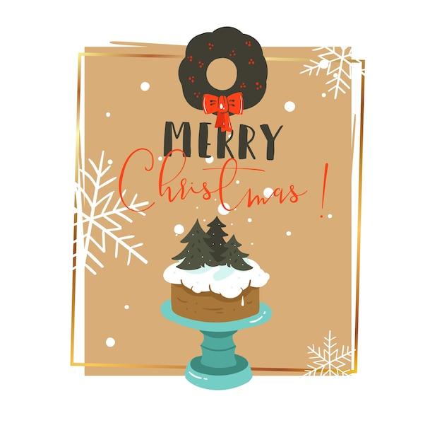 手描きの抽象的なメリークリスマスと新年あけましておめでとうございます時間レトロな漫画イラスト