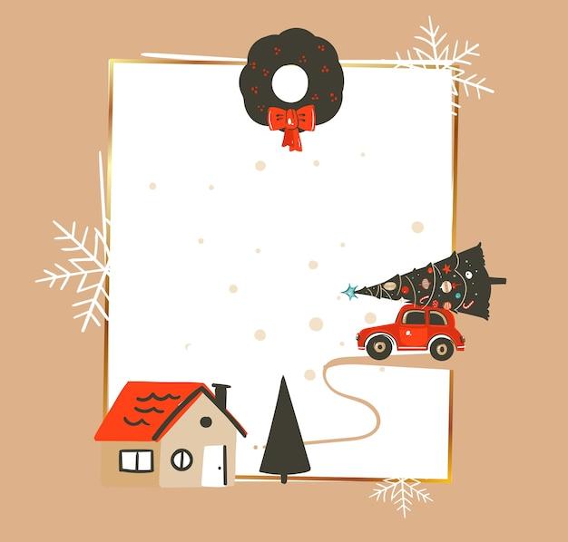 手描き抽象メリークリスマスと新年あけましておめでとうございます時間ヴィンテージ漫画イラスト