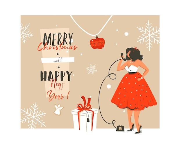 손으로 그린 추상 메리 크리스마스와 새 해 복 많이 받으세요 시간 빈티지 만화 그림