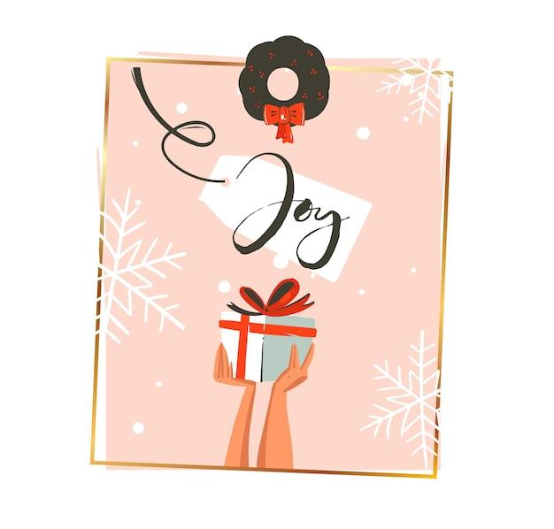 手描きの抽象的なメリークリスマスと新年あけましておめでとうございます
