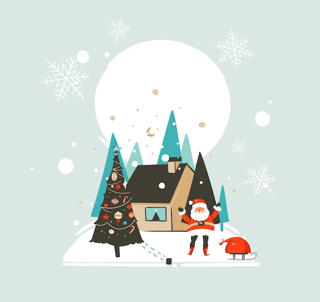 손으로 그린 추상 메리 크리스마스와 새 해 복 많이 받으세요 시간 프리미엄 벡터