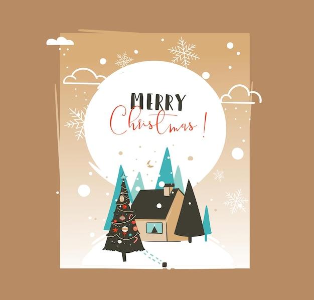 손으로 그린 추상 메리 크리스마스와 새 해 복 많이 받으세요 시간