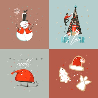 Hand drawn abstract merry christmas and happy new year cartoon illustration greeting cards collection set with snowman,xmas tree,people and merry christmas text isolated on colored background