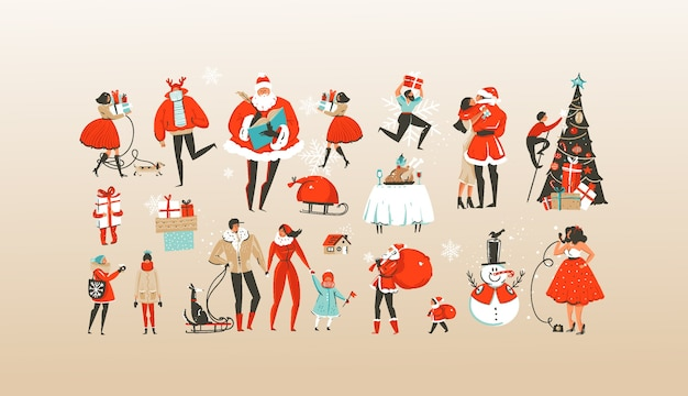 Hand drawn abstract merry christmas and happy new year cartoon illustrations set