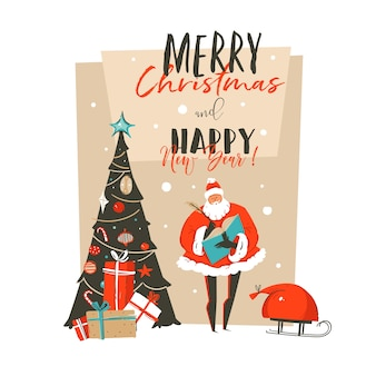 Hand drawn  abstract merry christmas and happy new year time cartoon illustration