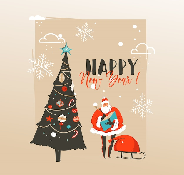 Hand drawn abstract merry christmas and happy new year time