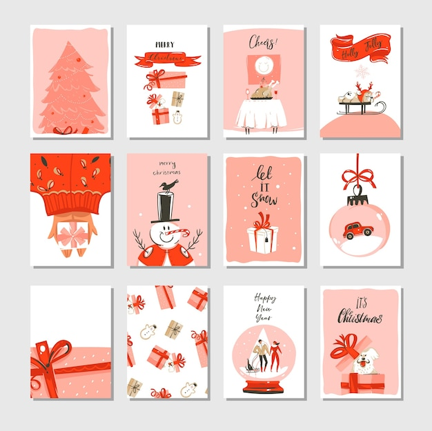 Hand drawn abstract merry christmas time cartoon cards collection set