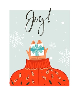 Hand drawn abstract merry christmas time cartoon illustration card