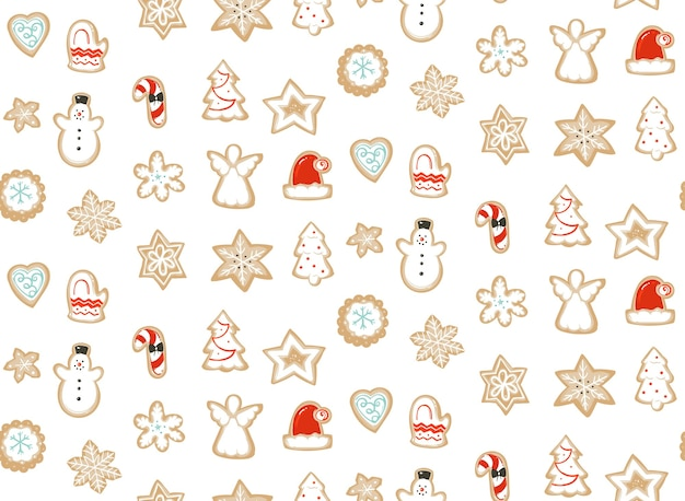 Hand drawn abstract merry christmas time cartoon illustration seamless pattern