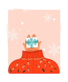Hand drawn abstract merry christmas time cartoon illustration