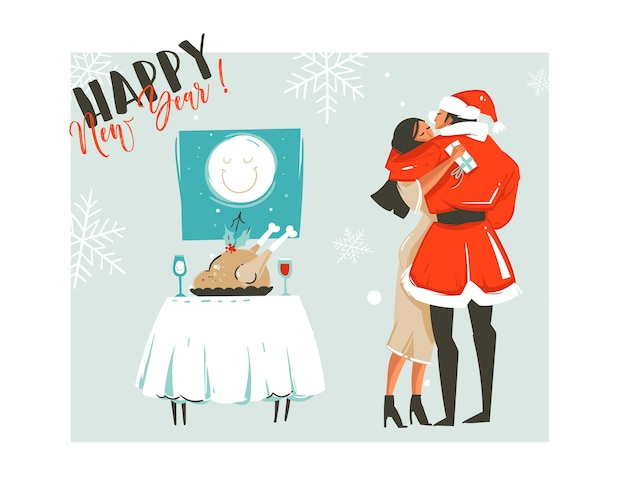 Hand drawn abstract merry christmas time cartoon retro vintage illustrations card with romantic couple who kissing and hugging,xmas dinner and happy new year text isolated on white background.