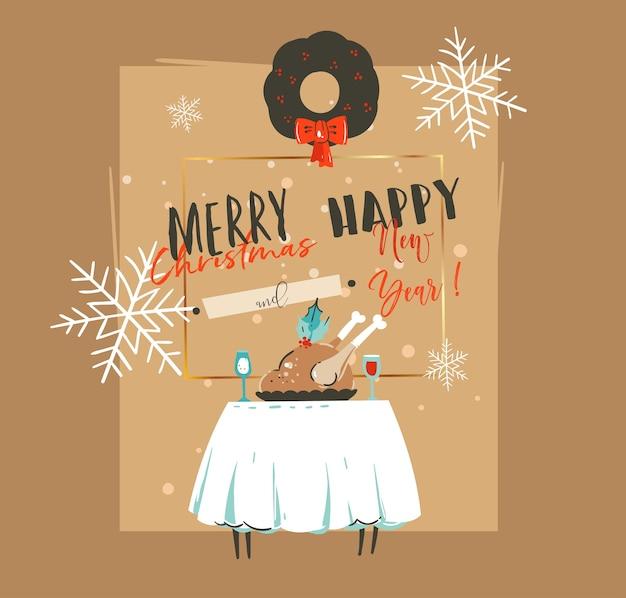 手描きの抽象的なメリークリスマス