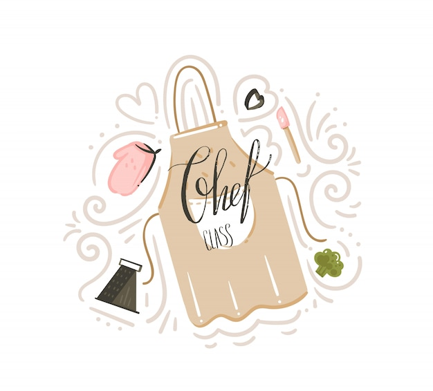 Hand drawn  abstract modern cartoon cooking class illustrations poster badge with cooking apron,utensils and chef class handwritten modern calligraphy  on white background