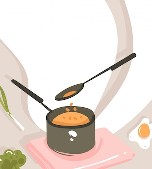 Hand drawn  abstract modern cartoon cooking class illustrations poster with preparing food scene,saucepan,spoon and copy space for your text  on white background