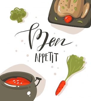 手描き抽象現代漫画料理、スープ鍋、野菜、白い背景で隔離の手書き書道bon appetitのコンセプトイラストを調理