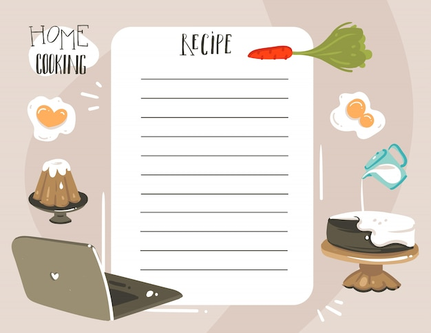 Hand drawn  abstract modern cartoon cooking studio class illustrations recipe cooking card templete with handwritten calligraphy quotes isolated on white background