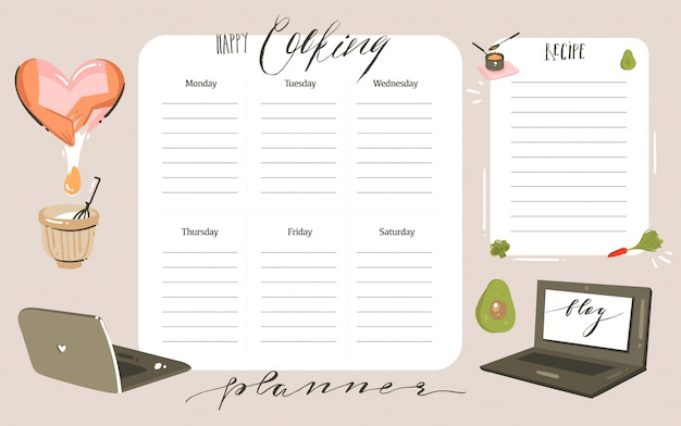 Hand drawn  abstract modern cartoon cooking studio class illustrations weekly cooking planner and recipe card templete with handwritten calligraphy quotes isolated on white background