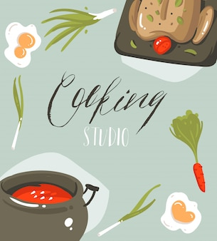 Hand drawn  abstract modern cartoon cooking studio illustrations poster card with food,vegetables and handwritten calligraphy cooking studio  on grey background