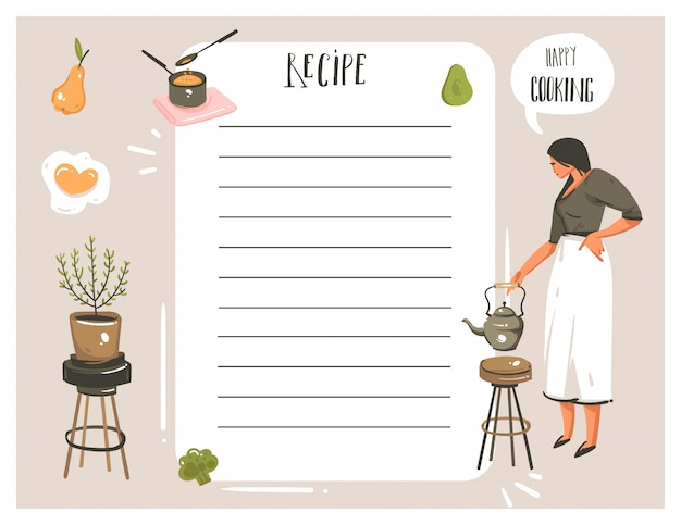 Hand drawn  abstract modern cartoon cooking studio illustrations recipe card planner templete with woman,food,vegetables and handwritten calligraphy  on white background Premium Vector