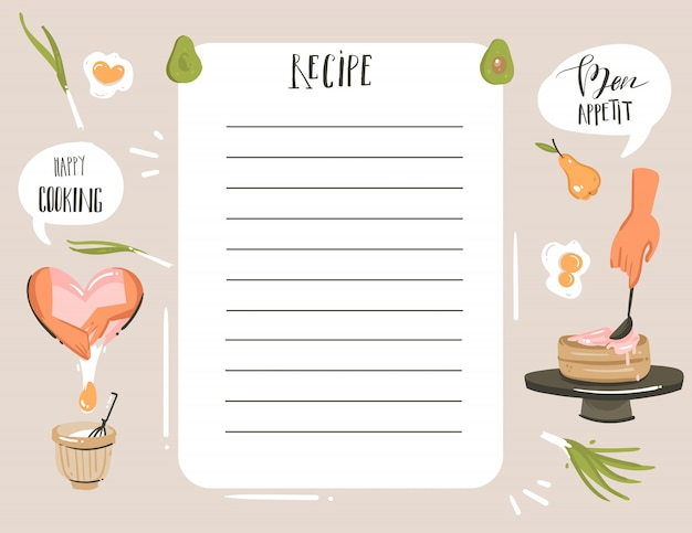 Hand drawn  abstract modern cartoon cooking studio illustrations recipe card planner templete with woman hands,food,vegetables and handwritten calligraphy isolated on white background