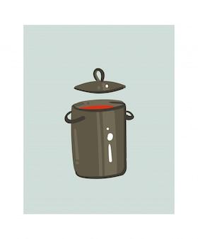 Ручной обращается абстрактный современный мультфильм готовя время весело иллюстрации значок с большой сковородой с крем-супом, изолированные на белом фоне.