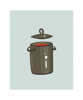 Hand drawn abstract modern cartoon cooking time fun illustrations icon with big pan with cream soup isolated on white background.