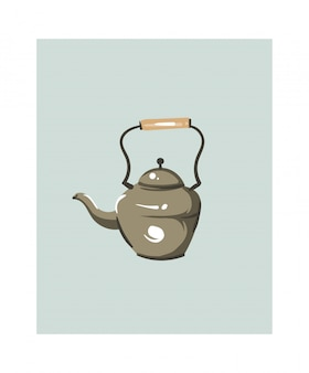 Hand drawn abstract modern cartoon cooking time fun illustrations icon with big vintage teapot isolated on white background.