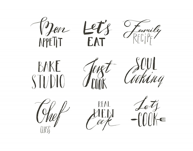 Hand drawn  abstract modern cartoon cooking time fun illustrations icons lettering logo collection design set with cooking modern calligraphy quotes and text isolated on white background