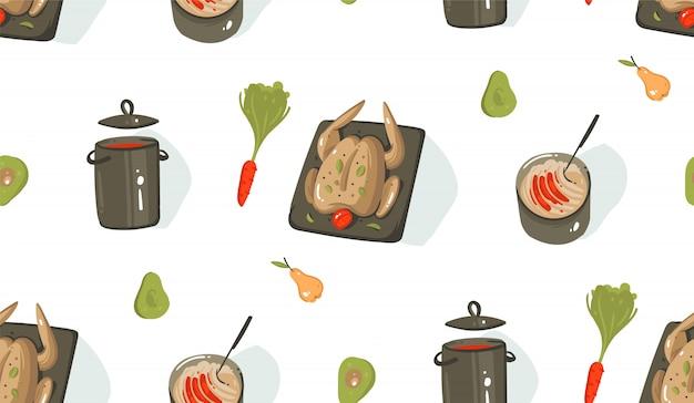手描き抽象モダンな漫画調理時間楽しいイラストアイコン調理器具、野菜、食品、白い背景の上の鶏とのシームレスなパターン