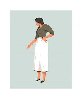 손으로 그린 추상 현대 만화 요리 시간 일러스트 아이콘 흰색 배경에 흰색 앞치마에 요리사 여자 요리 음식 요리 삽화 개념