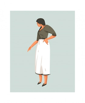 Hand drawn  abstract modern cartoon cooking time illustrations icon with cooking chef woman in white apron  on white background.food cooking illustrations concept