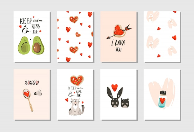 Hand drawn  abstract modern cartoon happy valentines day concept illustrations cards set collectionwith cute cats,pizza,hearts,avocado and handwritten calligraphy  on white background Premium Vector