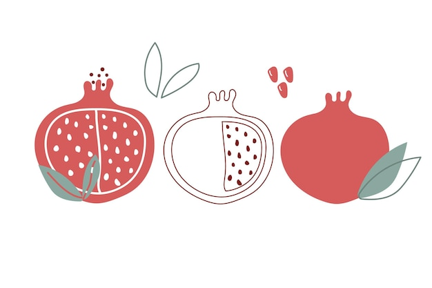Hand drawn abstract and modern set of garnet pomegranate with leaves and seeds flat illustration