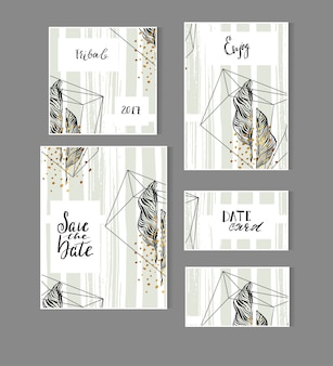 Hand drawn abstract modern tropical minimalistic save the date card set template with exotic palm leaf in pastel green and gold colors.wedding,marriage,save the date,baby shower bridal,birthday