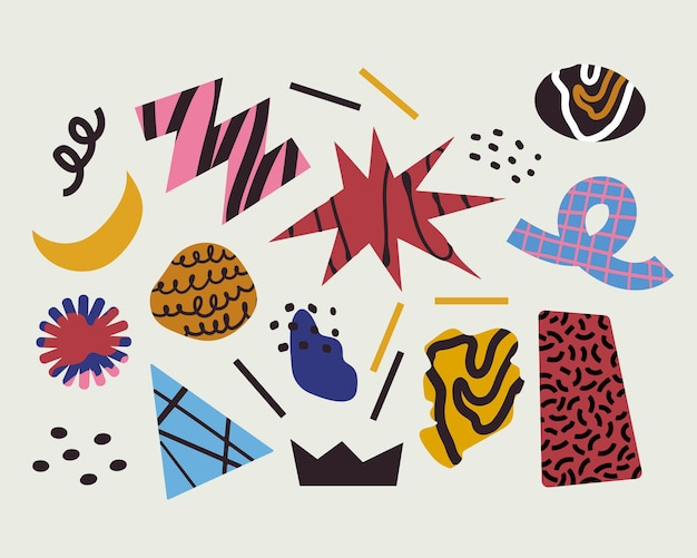Hand drawn abstract organic and geometric doodle shapes