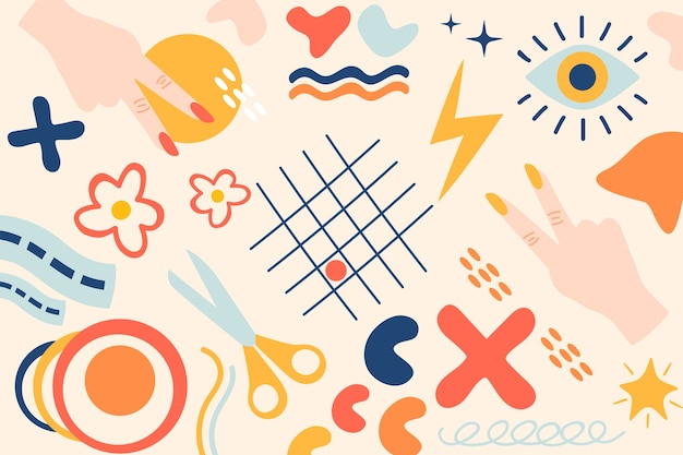 Hand-drawn abstract organic shapes background design