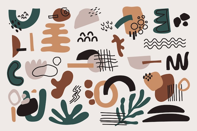 Hand-drawn abstract organic shapes background theme