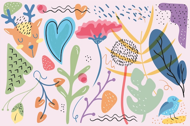 Hand drawn abstract organic shapes background