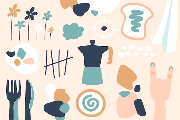Hand-drawn abstract organic shapes wallpaper concept
