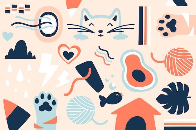 Hand-drawn abstract organic shapes wallpaper