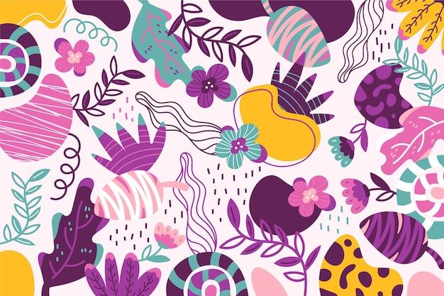 Hand drawn abstract organic shapes wallpaper