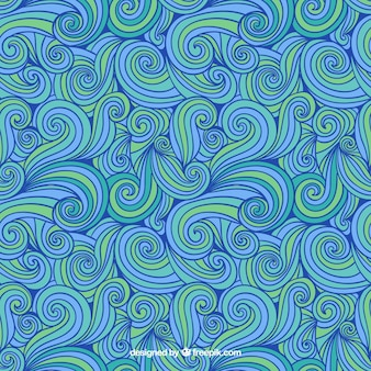 Hand drawn abstract pattern in blue and green tones
