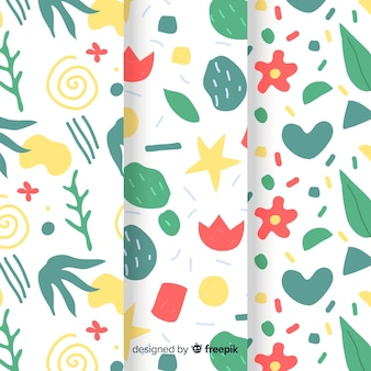 Hand drawn abstract pattern collection with plants