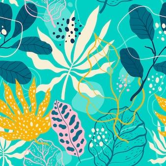 Ручной обращается абстрактный узор с листьями Бесплатные векторы