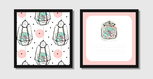 Hand drawn abstract postcards with pattern