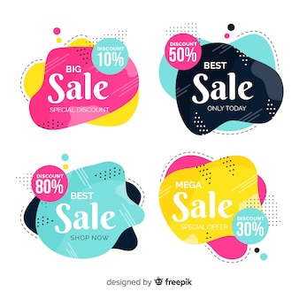 Hand drawn abstract sale banner collection