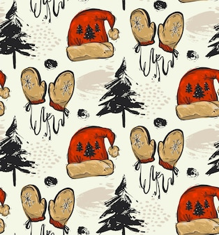 Hand drawn abstract seamless christmas pattern with christmas trees,christmas clothes red santa hat and red mittens.christmas outdoor pattern decoration background.