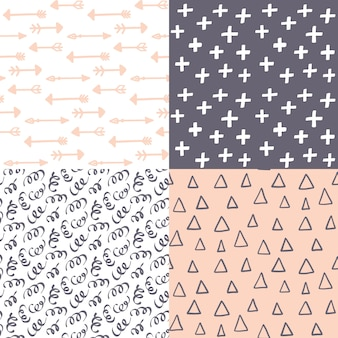 Hand drawn abstract seamless pattern set.