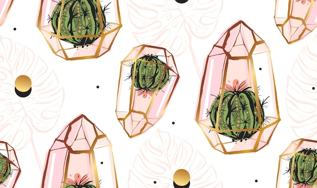 Hand drawn  abstract seamless pattern with golden terrarium