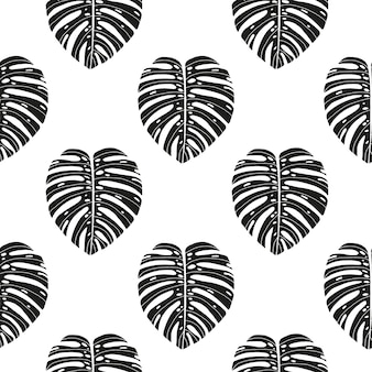 Hand drawn abstract seamless pattern with tropical leaves.